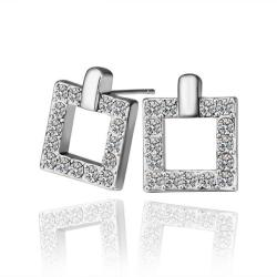 Vienna Jewelry 18K White Gold Square Stud Earrings Covered with Crystal Jewels Made with Swarovksi Elements only by
