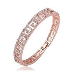 Vienna Jewelry 18K Rose Gold Design ingrained Bangle with Austrian Crystal Elements - Thumbnail 0