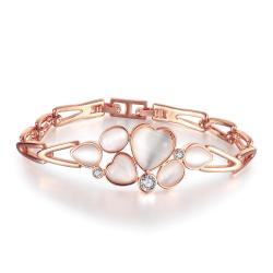 Vienna Jewelry 18K Rose Gold Bracelet with Hollow Emblem with Austrian Crystal Elements - Thumbnail 0