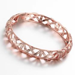Vienna Jewelry Rose Gold Plated Forever Chic Modern Bangle - Thumbnail 0
