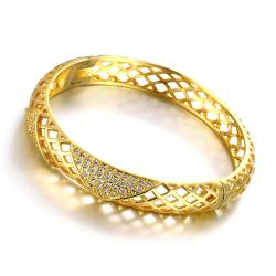 Vienna Jewelry Gold Plated Modern Knot Bangle - Thumbnail 0