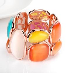 Vienna Jewelry 18K Rose Gold Bangle with Ivory & Saphire Gems with Austrian Crystal Elements - Thumbnail 0