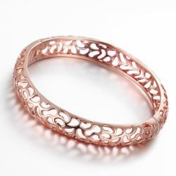 Vienna Jewelry Rose Gold Plated Criss Cross Classic Bangle - Thumbnail 0