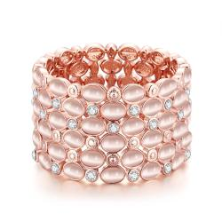 Vienna Jewelry 18K Rose Gold Classic Bangle with Austrian Crystal Elements - Thumbnail 0