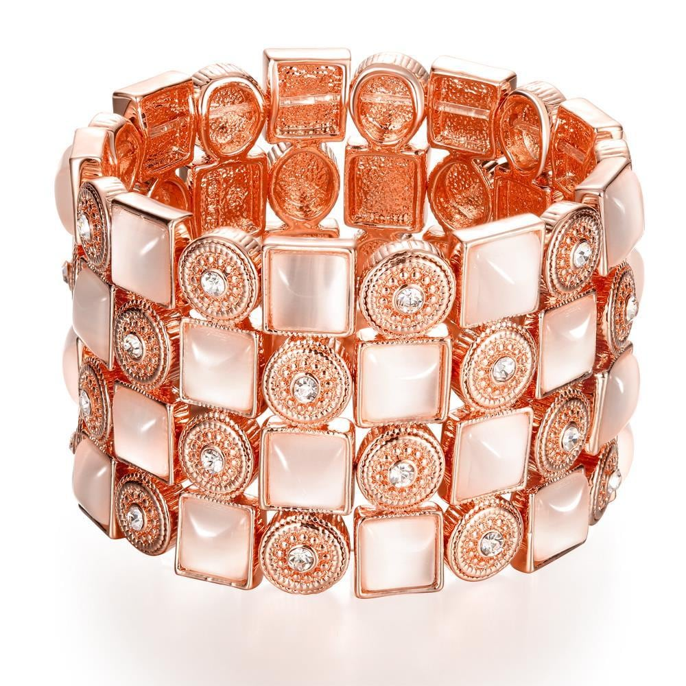 Vienna Jewelry 18K Rose Gold Bangle with Ivory Gems with Austrian Crystal Elements