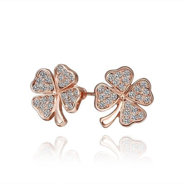 Vienna Jewelry 18K Rose Gold Clover Stud Earrings Made with Swarovksi Elements by: Rubique Jewelry