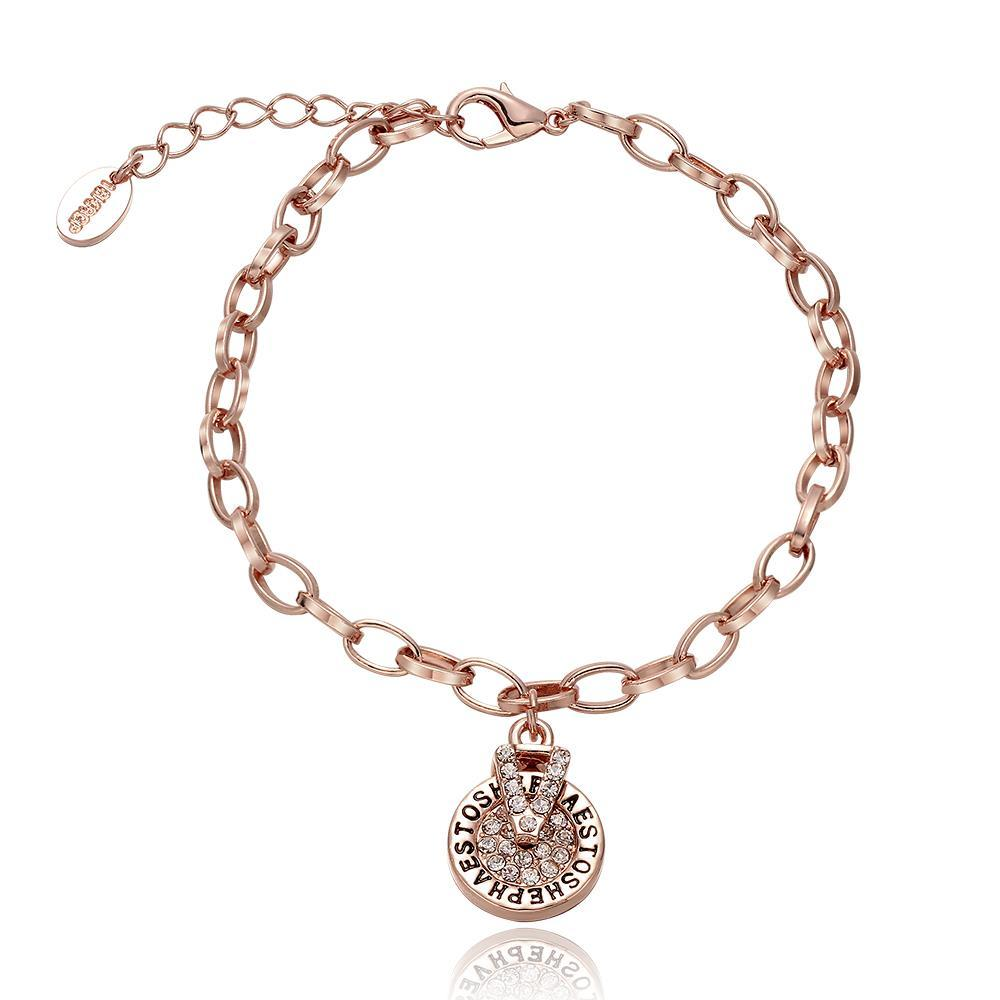 Vienna Jewelry 18K Rose Gold Circular Emblem Bracelet with Austrian Crystal Elements