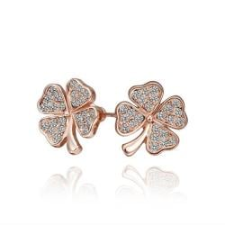 Vienna Jewelry 18K Rose Gold Clover Stud Earrings Made with Swarovksi Elements by: Rubique Jewelry - Thumbnail 0