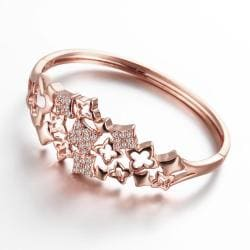 Vienna Jewelry Rose Gold Plated Sophisticated Artistic Bangle - Thumbnail 0
