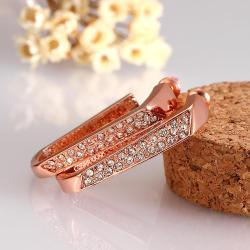 Vienna Jewelry 18K Rose Gold Abstract Curved Earrings Made with Swarovksi Elements only by: Rubique Jewelry