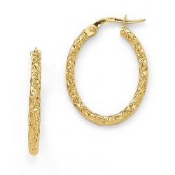 Italian 10k Gold Polished Diamond Cut Oval Hoop Earrings - Thumbnail 0