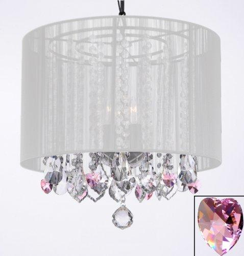 Crystal Chandelier With Large White Shade & Pink Crystal*Hearts*