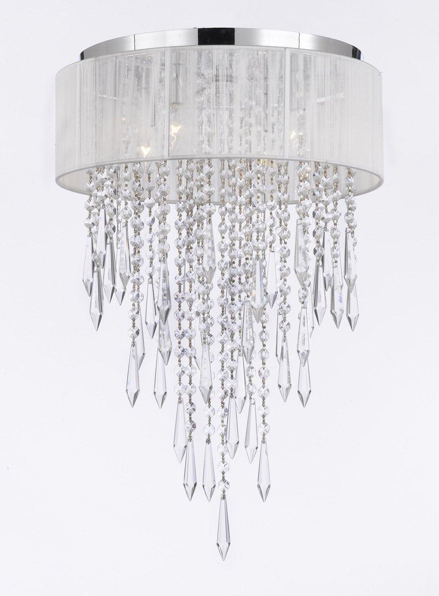 Flush Mount 4 Light Chrome White Shade Empress Crystal Chandelier Lighting