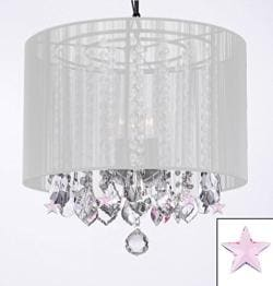 Crystal Chandelier Lighting With Large White Shade & Pink Crystal*Stars* - Thumbnail 0