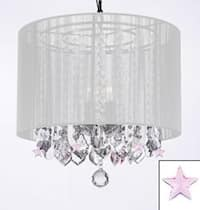 Crystal Chandelier Lighting With Large White Shade & Pink Crystal*Stars*