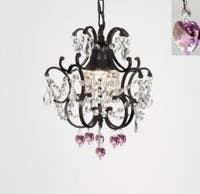 Wrought Iron Crystal Mini Chandelier Lighting With Pink Crystal *Hearts*H14 x W11