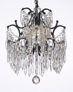 Wrought Iron Crystal Chandelier Dressed With Icicle Crystals - Thumbnail 0