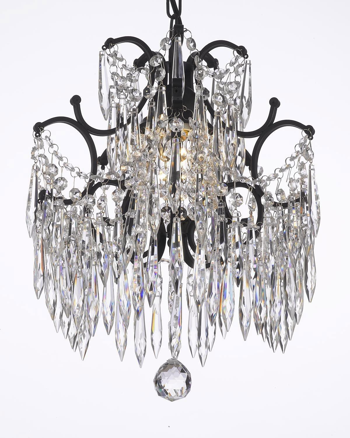 Wrought Iron Crystal Chandelier Dressed With Icicle Crystals