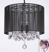 Crystal Chandelier With Large Black Shade & Pink Crystal*Hearts*