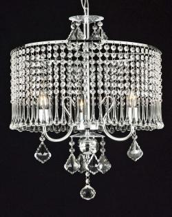 Contemporary 3 Light Plug In Crystal Chandelier Lighting With Crystal - Thumbnail 0