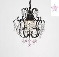 Wrought Iron Empress Crystal Chandelier Lighting With Pink *Stars* H14 x W11