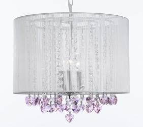 Crystal Chandelier With Large White Shade & Pink Crystal*Hearts* - Thumbnail 0