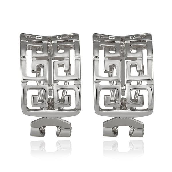 Vienna Jewelry 18K White Gold Oriental Design Stud Earrings Made with Swarovksi Elements