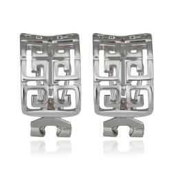Vienna Jewelry 18K White Gold Oriental Design Stud Earrings Made with Swarovksi Elements - Thumbnail 0