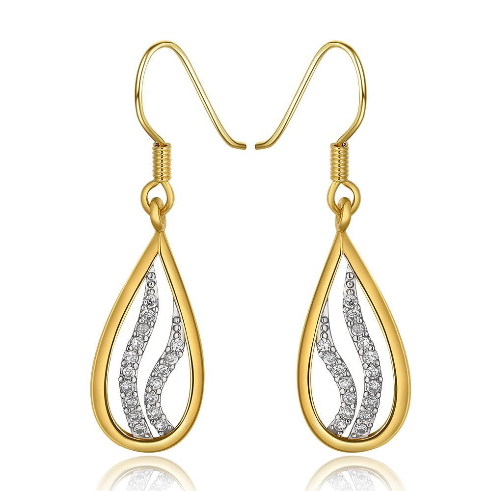Vienna Jewelry 18K Gold Drop Down Earrings with Crystal Jewels Inline Made with Swarovksi Elements