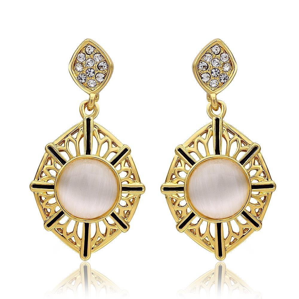 Vienna Jewelry 18K Rose Gold Natural Gemstone Classic Drop Down Earrings Made with Swarovksi Elements