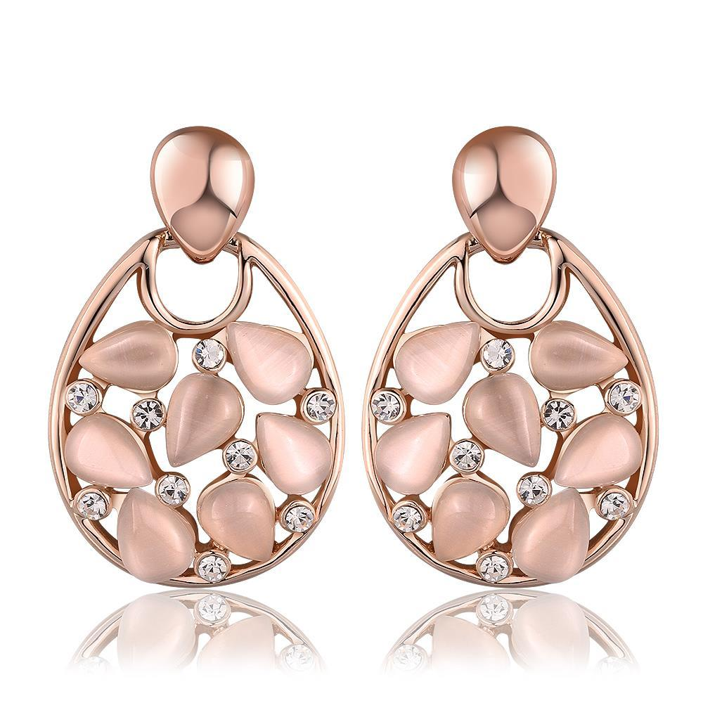 Vienna Jewelry 18K Rose Gold Hollow Drop Down Earrings with Ivory Inlay Made with Swarovksi Elements