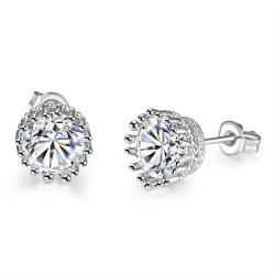 Vienna Jewelry 18K White Gold Plated Classic Studs - Thumbnail 0