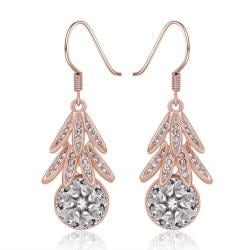 Vienna Jewelry 18K Rose Gold Dangling Leaves Drop Down Earrings Made with Swarovksi Elements - Thumbnail 0