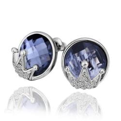 Vienna Jewelry 18K White Gold Stud Earrings with Saphire Jewel Made with Swarovksi Elements only by: Rubique Jewelr