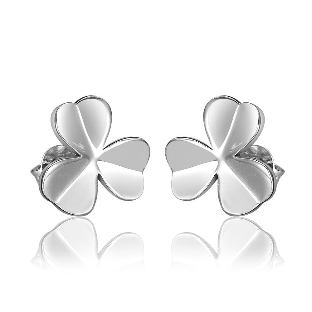 Vienna Jewelry 18K White Gold Clean Plate Clover Shaped Stud Earrings Made with Swarovksi Elements