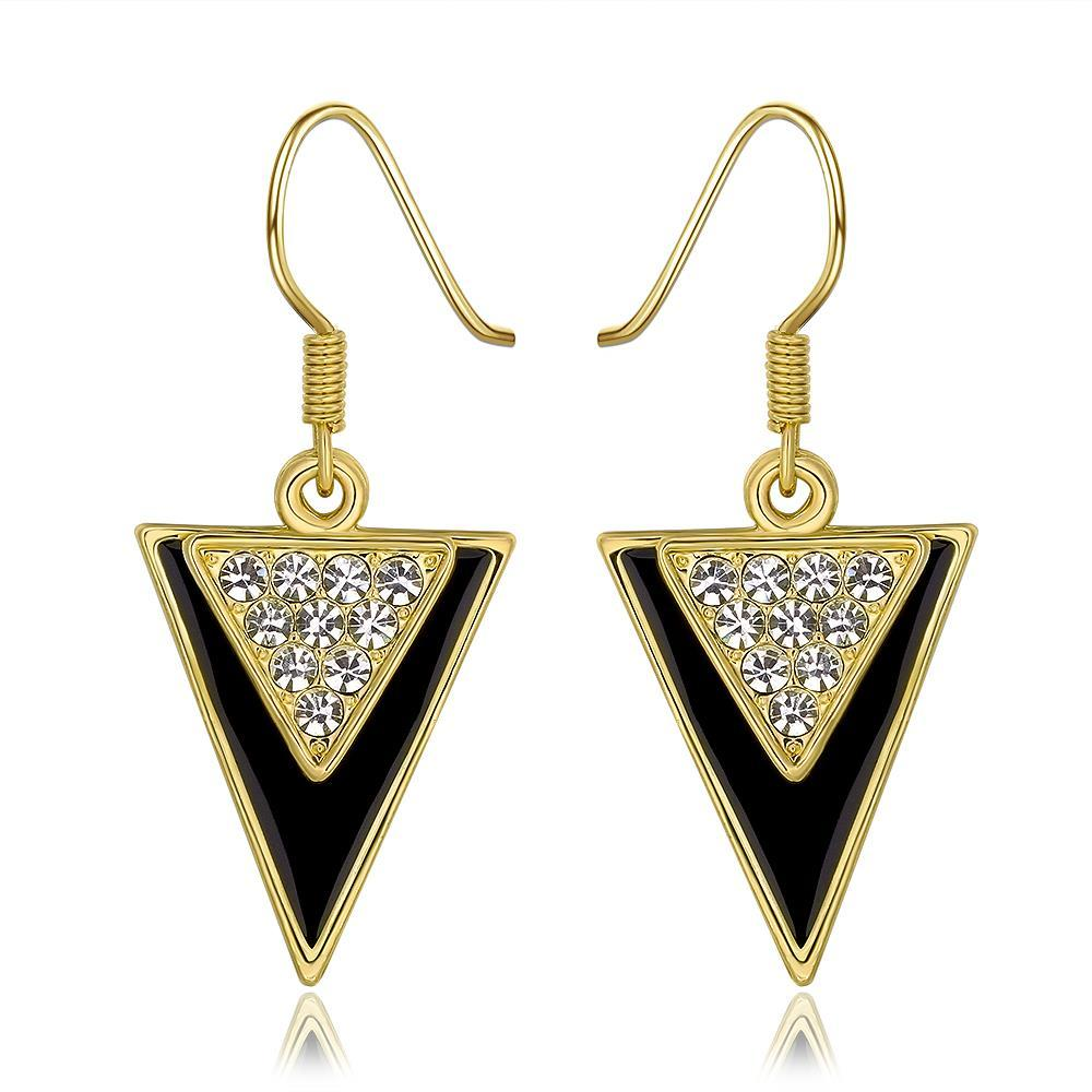 Vienna Jewelry 18K Gold Downwards Triangular Drop Down Earrings Made with Swarovksi Elements