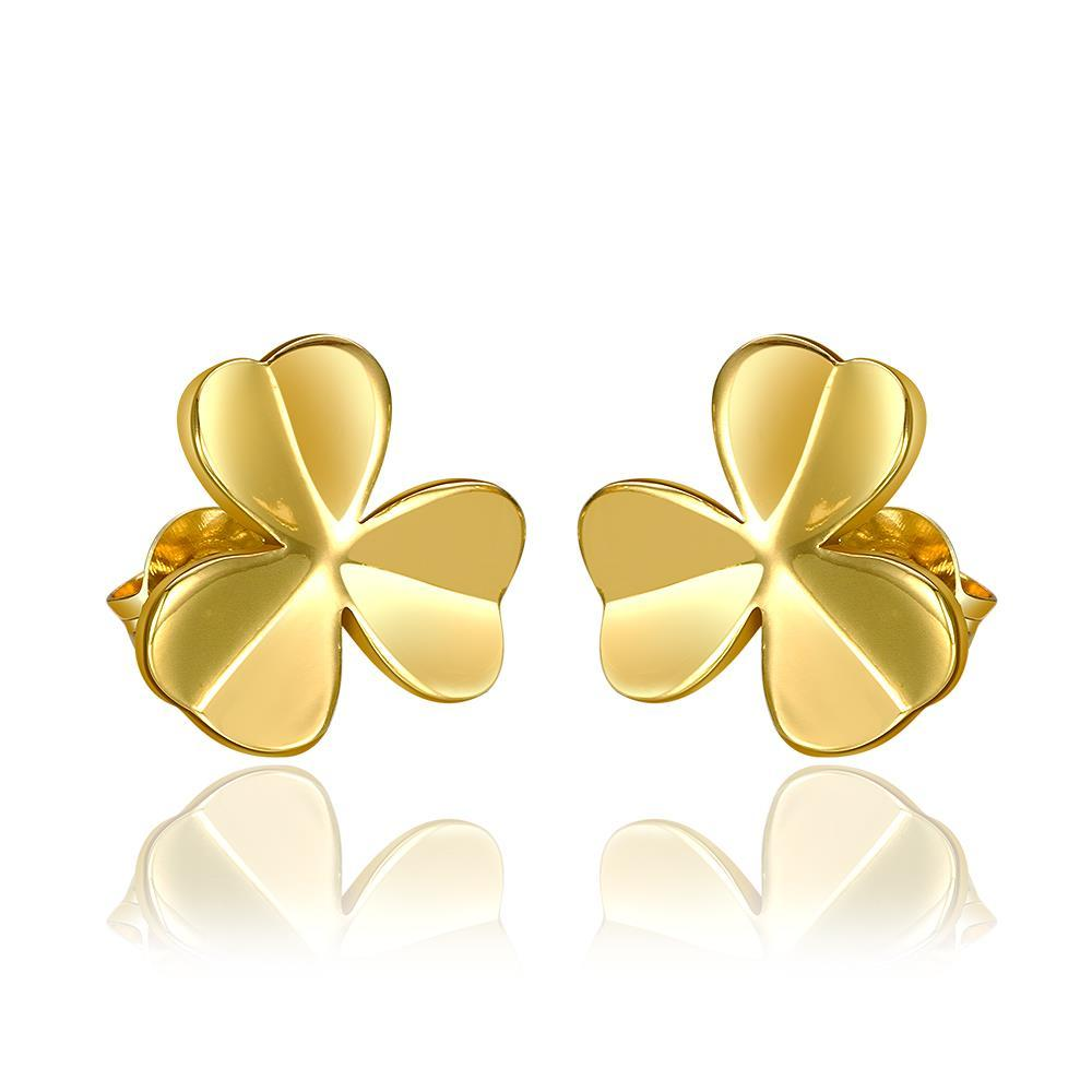 Vienna Jewelry 18K Gold Clean Plate Clover Shaped Stud Earrings Made with Swarovksi Elements