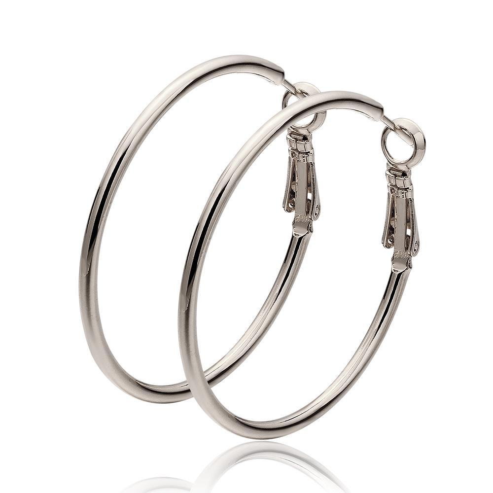 Vienna Jewelry 18K White Gold Thick Lay Hoop Earrings Made with Swarovksi Elements