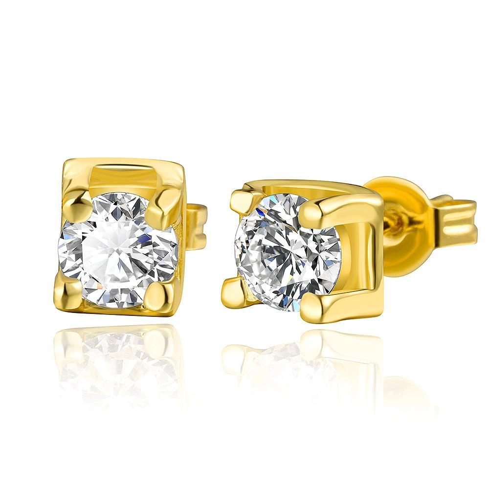 Vienna Jewelry 18K Gold Classic Stud Earrings with Crystal Gem Made with Swarovksi Elements