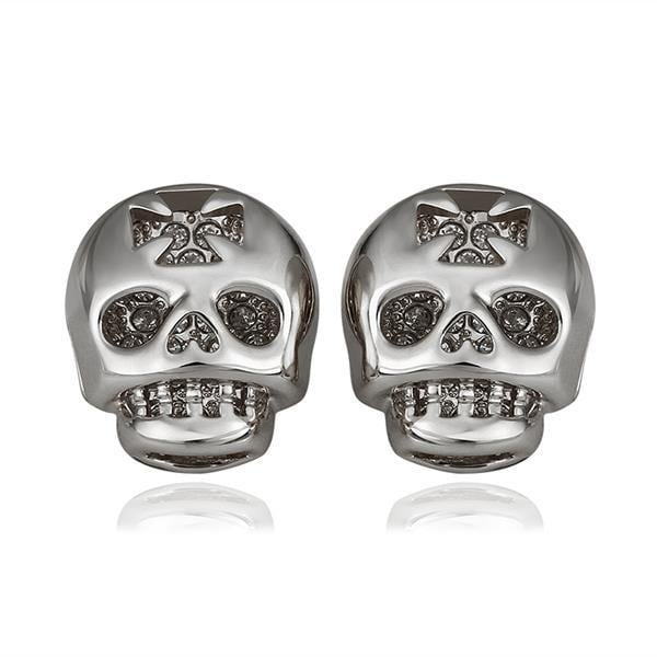 Vienna Jewelry 18K White Gold Skull Shaped Stud Earrings Made with Swarovksi Elements