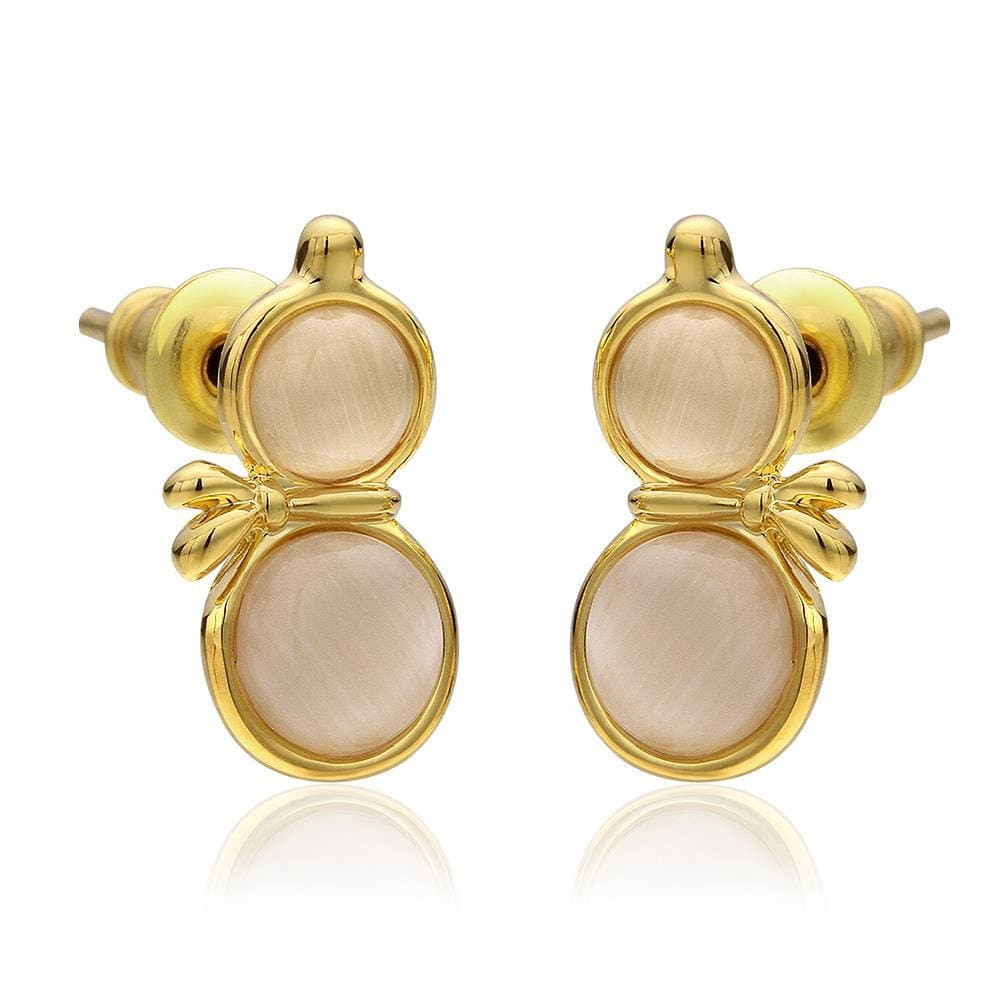 Vienna Jewelry 18K Gold Double Chamber Stud Earrings Made with Swarovksi Elements