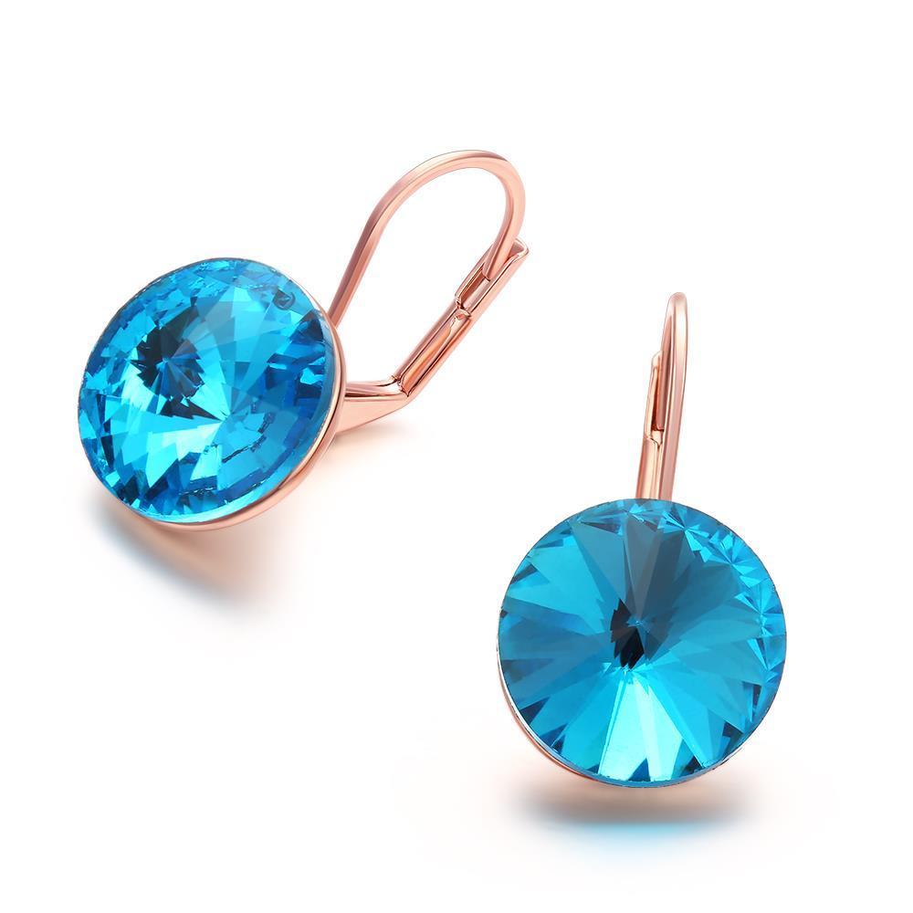 Vienna Jewelry 18K Rose Gold Sapphire Topaz Clip-on Earrings