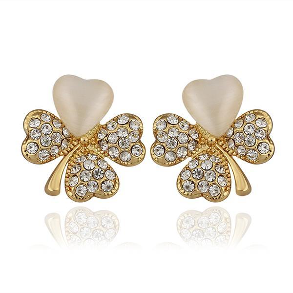 Vienna Jewelry 18K Gold Clover Stud Earrings with Ivory Inlay Made with Swarovksi Elements