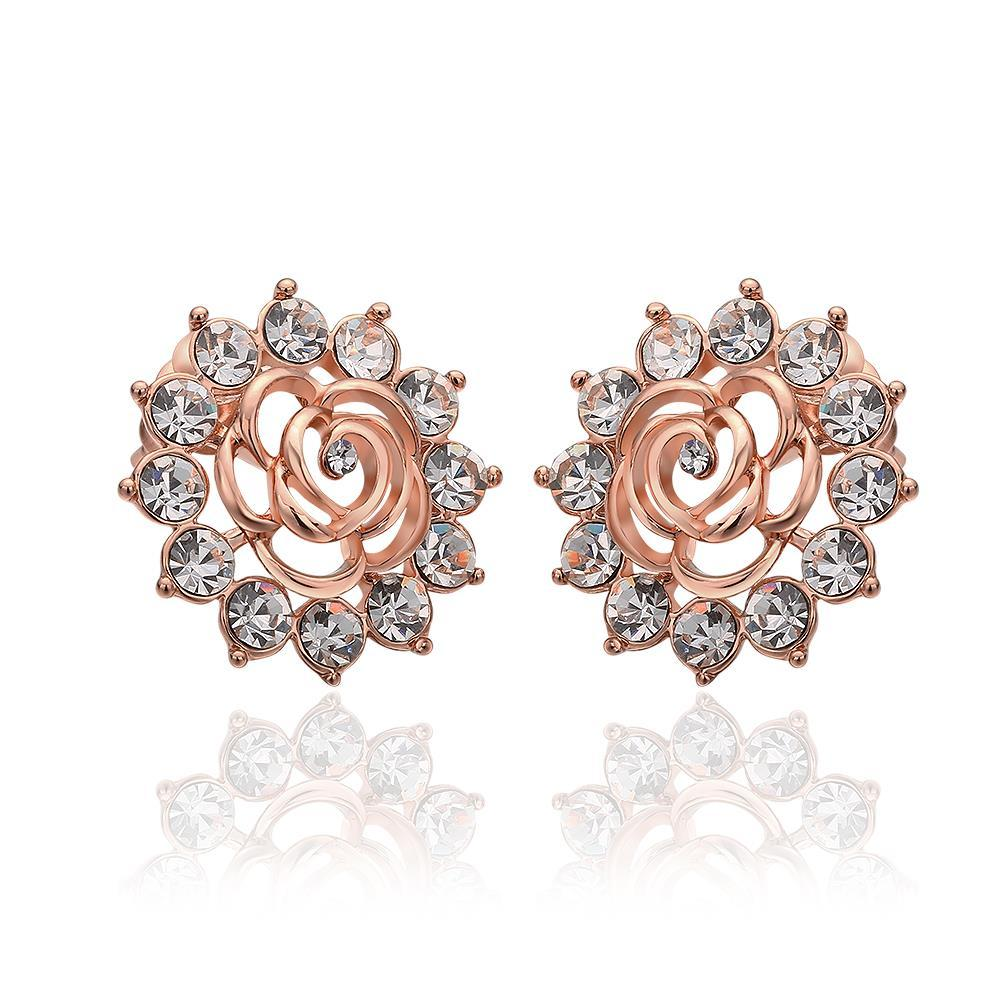 Vienna Jewelry 18K Rose Gold Snowflake Earrings with Crystals Made with Swarovksi Elements