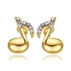 Vienna Jewelry 18K Gold Musical Note Stud Earrings Made with Swarovksi Elements - Thumbnail 0