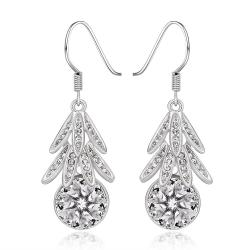 Vienna Jewelry 18K White Gold Dangling Leaves Drop Down Earrings Made with Swarovksi Elements - Thumbnail 0