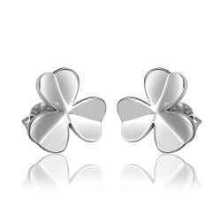 Vienna Jewelry 18K White Gold Clean Plate Clover Shaped Stud Earrings Made with Swarovksi Elements - Thumbnail 0