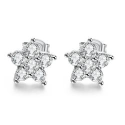 Vienna Jewelry 18K White Gold Plated Flower Studded Earrings - Thumbnail 0