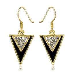 Vienna Jewelry 18K Gold Downwards Triangular Drop Down Earrings Made with Swarovksi Elements - Thumbnail 0