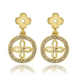 Vienna Jewelry 18K Gold Petite Cross Drop Down Earrings Made with Swarovksi Elements - Thumbnail 0